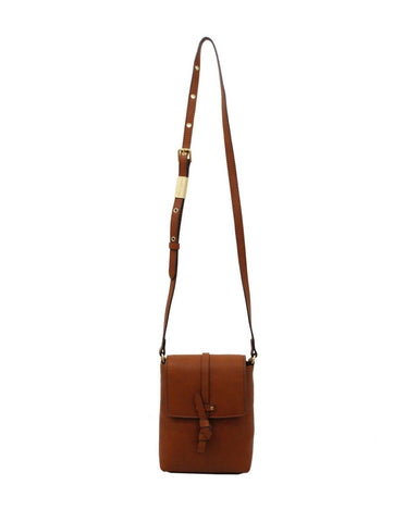 COCONUT ISLAND LIBERATED LEATHER PHONE BAG IN COGNAC