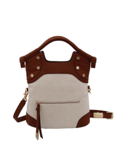COCONUT ISLAND LIBERATED LEATHER FC LADY TOTE IN NATURAL CANVAS