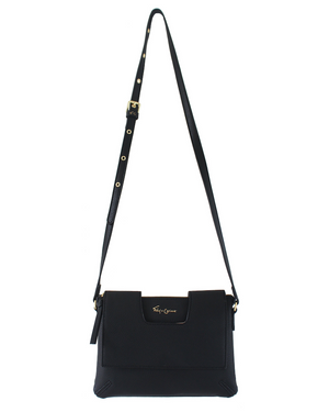 Delancie Flap Crossbody in Black