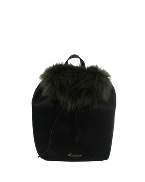 CITY BLOOMS BACKPACK IN BLACK WITH OLIVE FUR