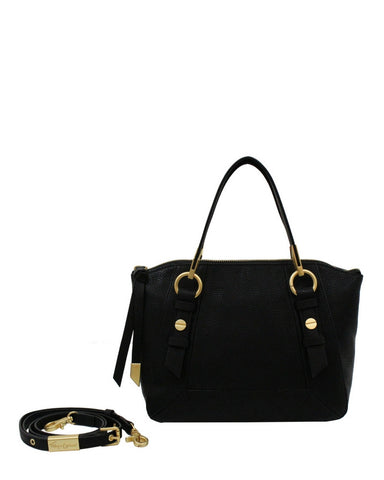 COCONUT ISLAND LIBERATED LEATHER SATCHEL IN BLACK