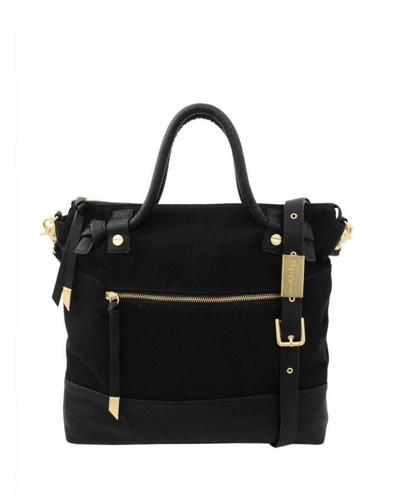 COCONUT ISLAND ZIP TOP LIBERATED LEATHER TOTE IN BLACK CANVAS