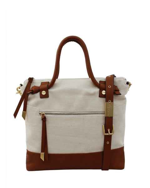 COCONUT ISLAND ZIP TOP LIBERATED LEATHER TOTE IN NATURAL CANVAS