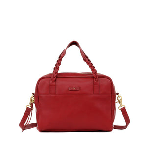 Cable Satchel in Rouge Red