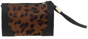 Framed Wristlet Pouch in Leopard Haircalf