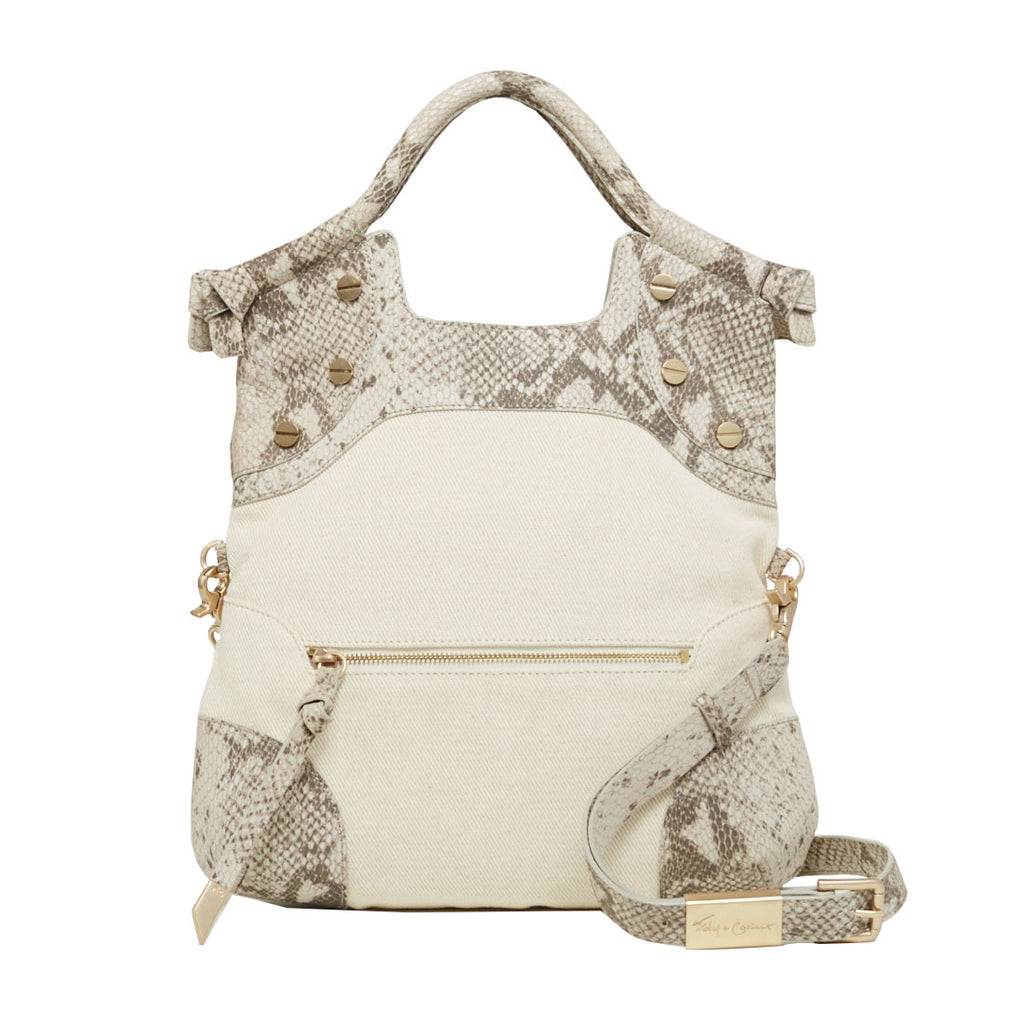 CERBERUS LADY TOTE IN CRUSH SNAKE CANVAS