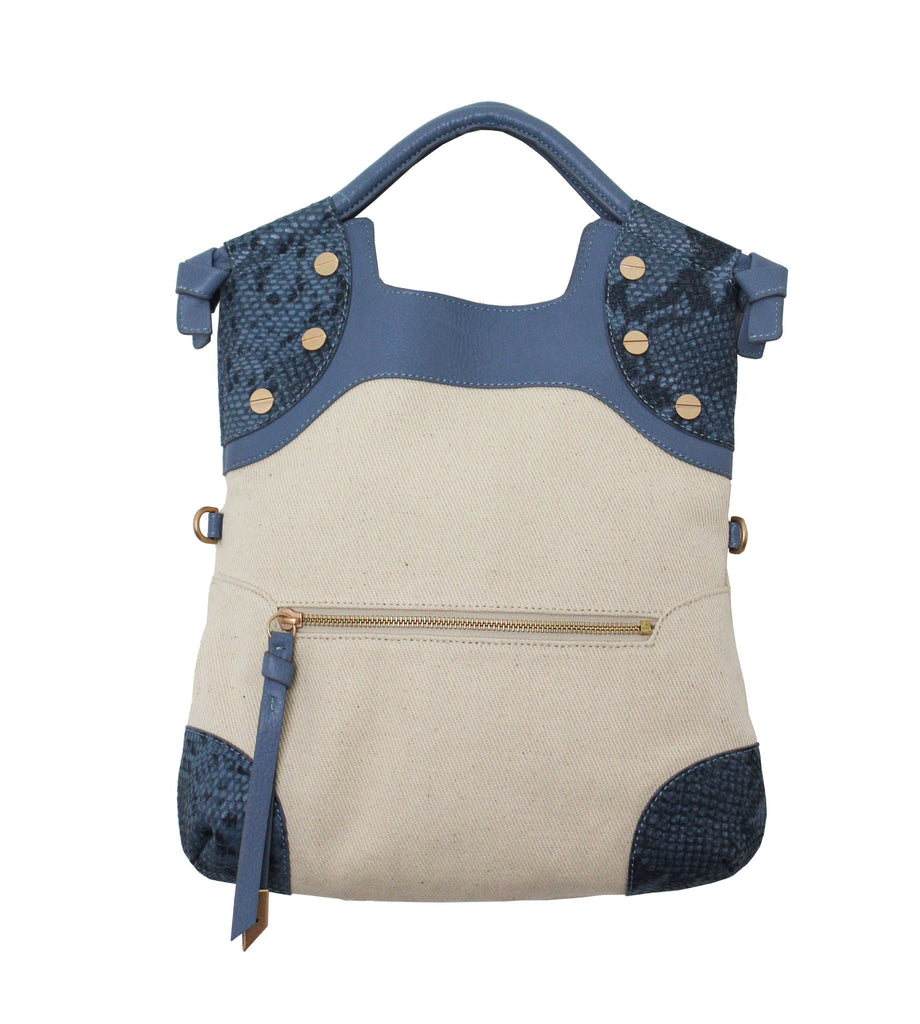 CERBERUS LADY TOTE IN AZUL SNAKE CANVAS