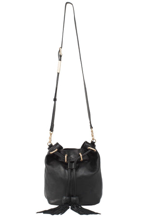 Sasha Drawstring Bucket Bag in Black