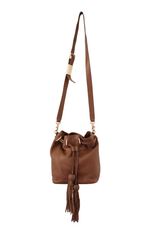 Sasha Drawstring Bucket Bag in Chestnut