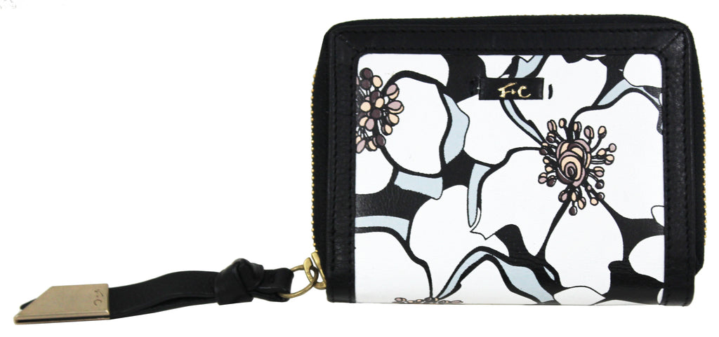 SQUARE CUT ZIP AROUND WALLET FLORAL/BLACK