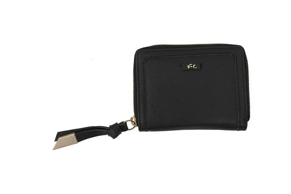 SQUARE CUT ZIP AROUND WALLET BLACK