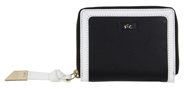 SQUARE CUT ZIP AROUND WALLET BLACK/WHITE
