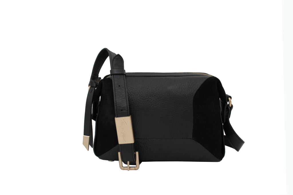 KATE LARGE CROSSBODY IN BLACK SUEDE COMBO