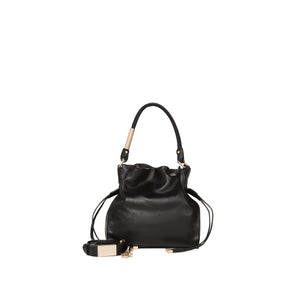 Faye Drawstring Tote in Black