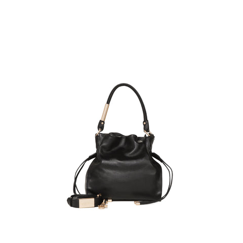 FAYE SM DRAWSTRING HOBO IN BLACK