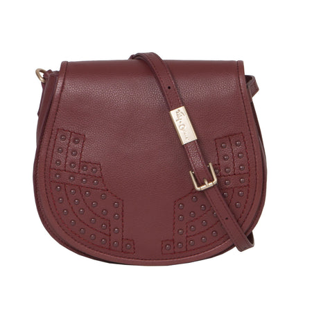 STEVIE SADDLE BAG IN BORDEAUX