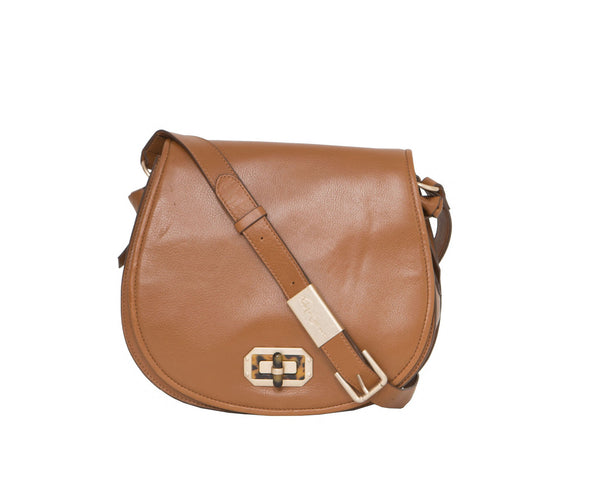 WHITNEY SADDLE BAG IN HONEY BROWN