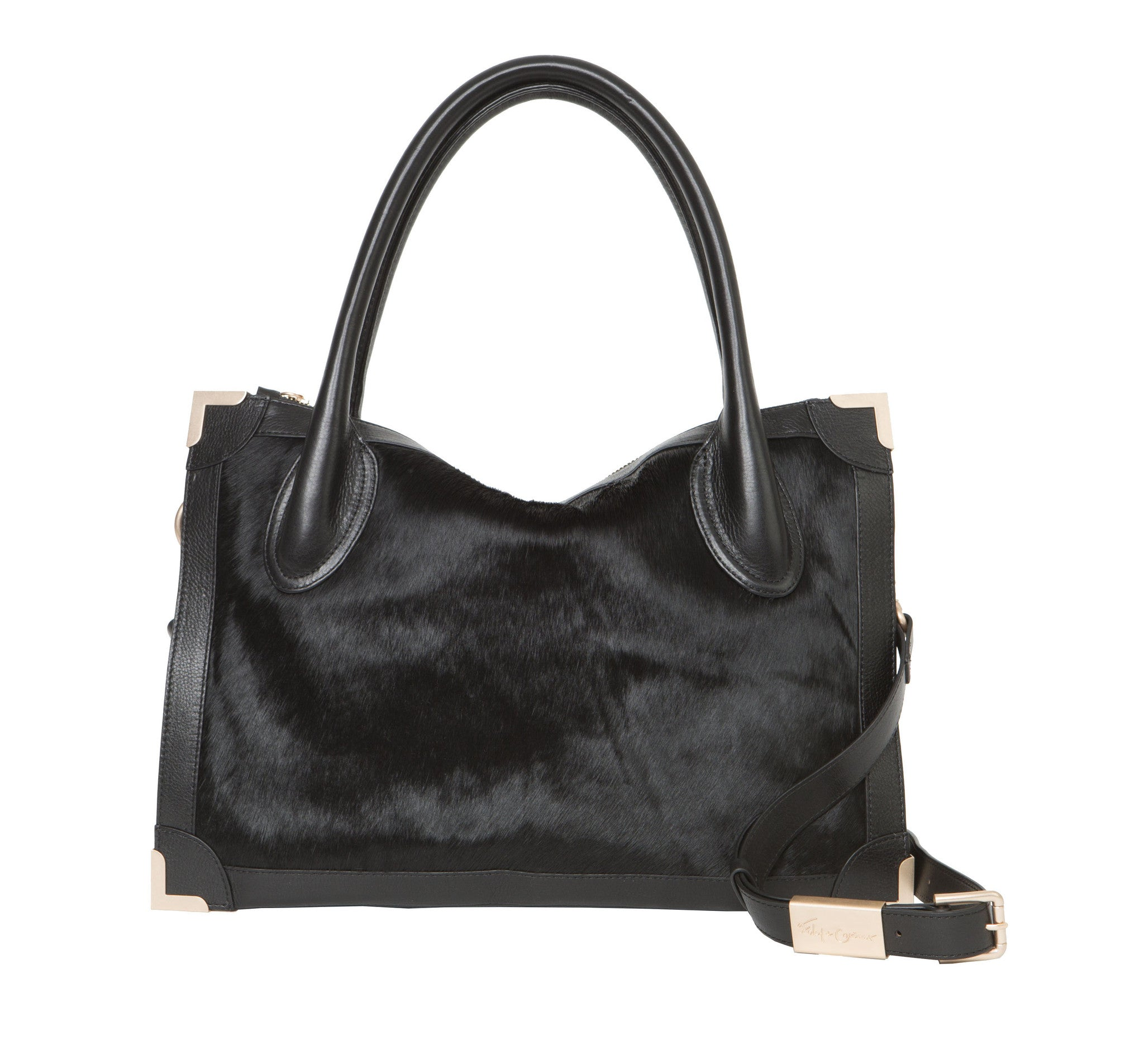 FRANKIE SATCHEL IN BLACK HAIRCALF