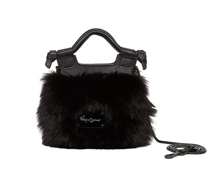 PHEOBE TINY CITY CROSSBODY IN BLACK FUR