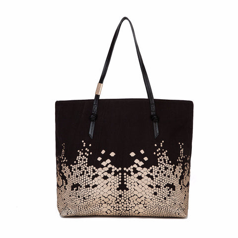 VENUS CANVAS TOTE IN BLACK/GOLD