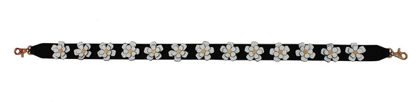 3D FLOWERS GUITAR STRAP IN BLACK/WHITE