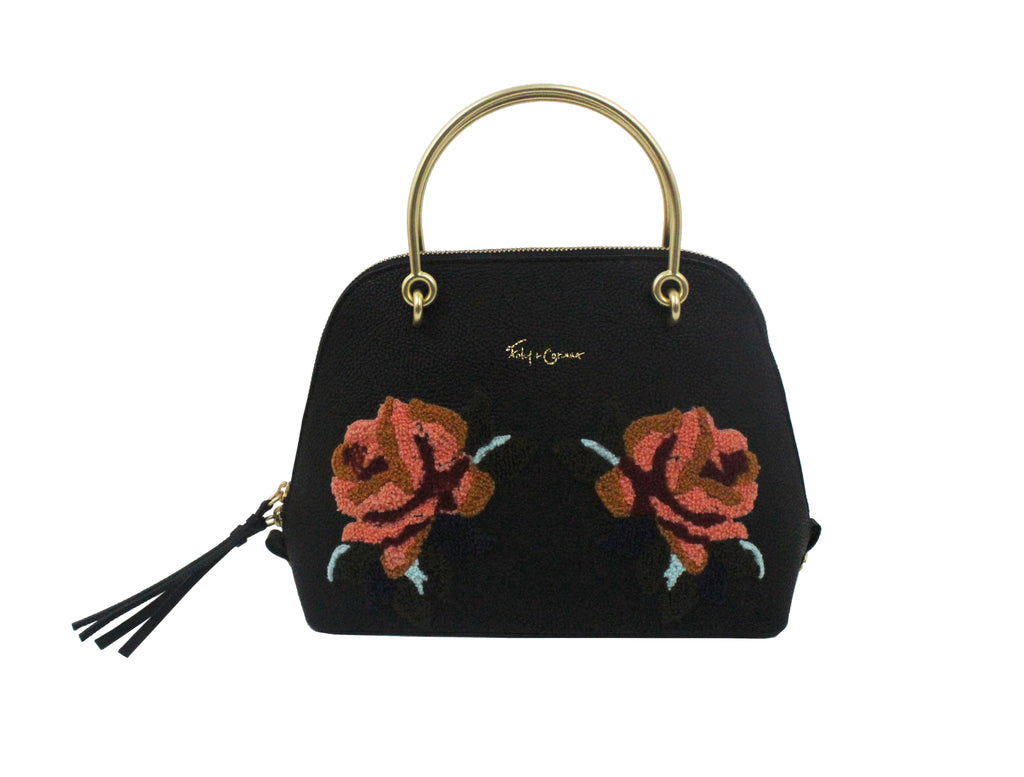 CITY BLOOMS DOME SATCHEL IN BLACK