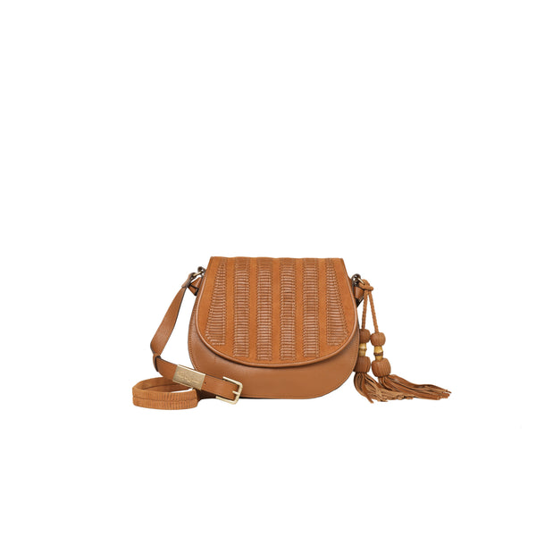 CHARLOTTE SADDLE BAG IN HONEY BROWN
