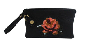 Prive Wristlet in Black Rose Patch