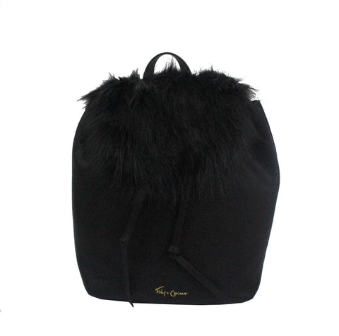 CITY BLOOMS BACKPACK IN BLACK WITH BLACK FUR