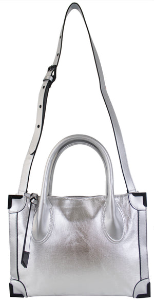 Small Frankie Satchel in Silver