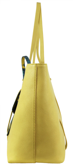 Regina Tote in Lemon & Teal