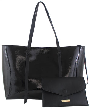 Regina Tote in Patent Black