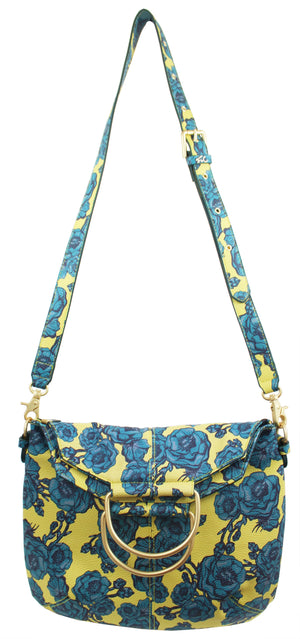 Kayla Foldover Tote in Lemon & Teal