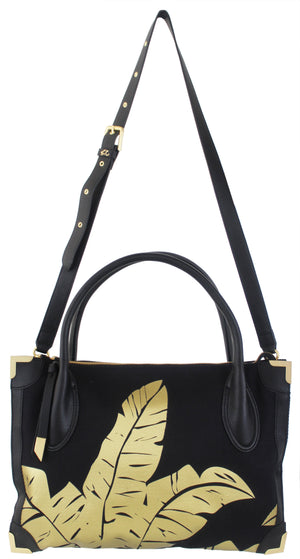 Frankie Satchel in Black & Gold Palm