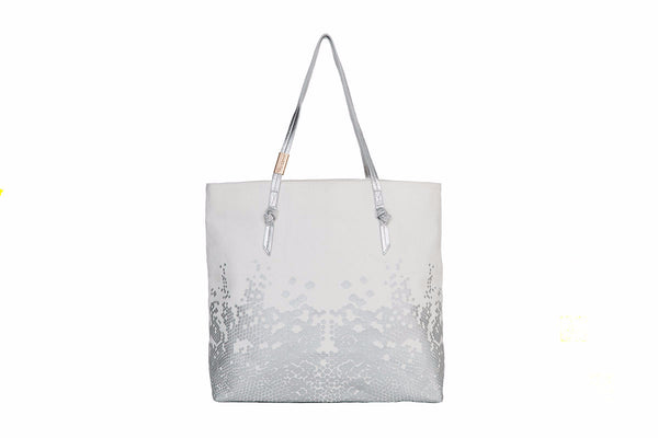 VENUS CANVAS TOTE IN BONE/SILVER