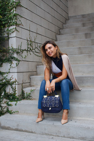 Dione Saddle Bag in Midnight Blue