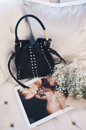 Riley Drawstring Tote in Black