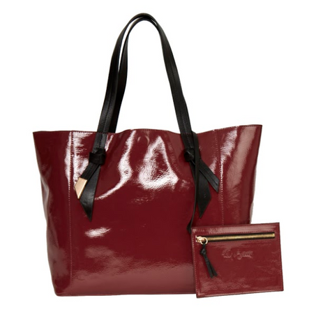 ASHLYN PATENT TOTE IN BORDEAUX PATENT BLACK