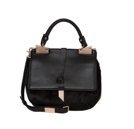 DIONE SADDLE BAG IN BLACK HAIRCALF