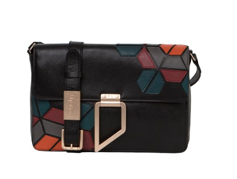 VALERIE GEO PATCH SHOULDER IN BLACK MULTI