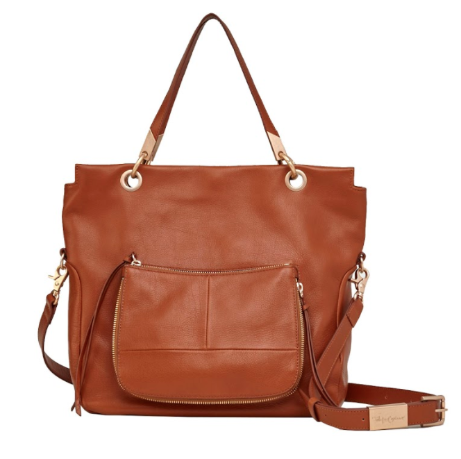 AMBER TOTE IN HONEY BROWN SUEDE COMBO