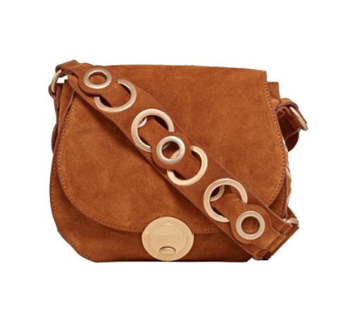 MEGAN SADDLE BAG IN HONEY BROWN SUEDE