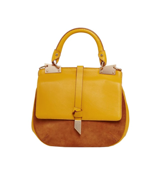 DIONE SADDLE BAG IN MANGO TEA WITH HONEY BROWN