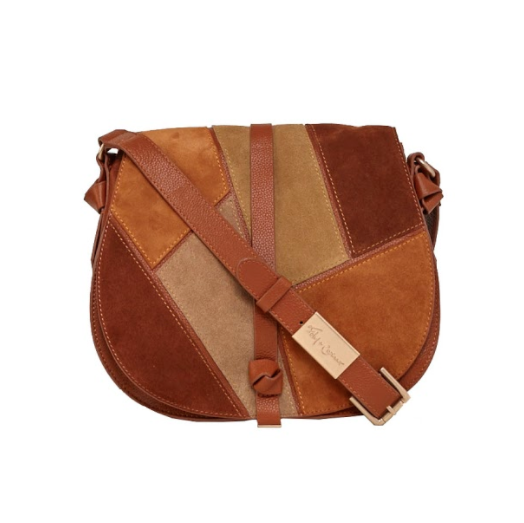 DAISY PATCHWORK SADDLE BAG IN NEUTRAL MULTI