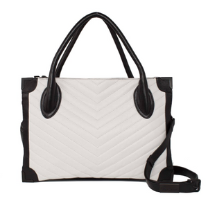 Frankie Satchel in Quilted Black & White