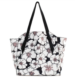 Tye Tote in Black & White Floral