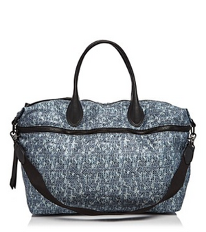 Expandable Weekender in Blue Tweed Print