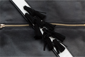 Tassels Guitar Strap in Black & Silver