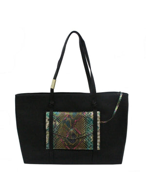 City Instincts Tote in Black & Snake
