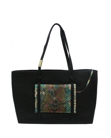 CITY INSTINCTS TOTE IN BLACK WITH SNAKE